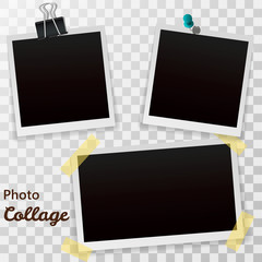 Set of blank retro photographs with shadow isolated on a transparent background. Realistic empty photo frames, mockup template. Vector illustration EPS10.