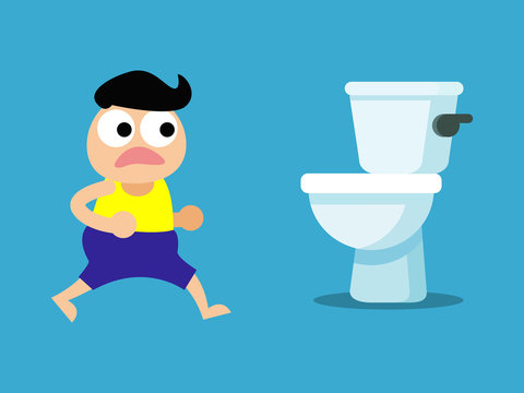 diarrhea , food poisoning concept. A person get sick of diarrhea in the toilet. vector illustration.
