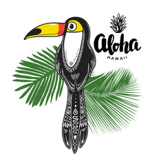 Toucan illustration. Vector print for apparel, cards, posters - Vector