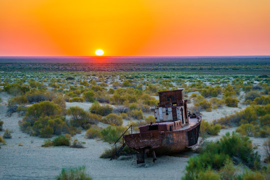 The ecological catastrophy on the Aral Sea in Uzbekistan, Ship Graveyard in Muynak