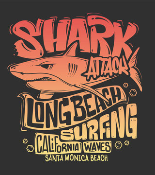 Shark t-shirt surf print design, vector illustration