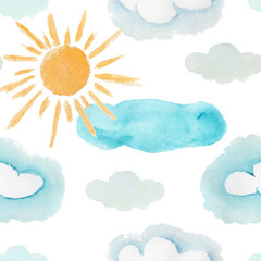 Cute colorful watercolor seamless pattern with yellow sun and blue and gray clouds. Bright cartoon texture with weather elements for kids textile, wrapping paper, weather surface design, background