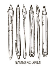 Fountain pen and Brush tools, vector illustration.