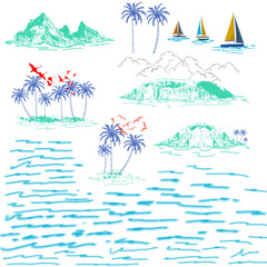 Set of tropical islands, sailing ship and exotic palm trees. Landscape with palm trees, islands, beach, sailing ship and ocean brush hand drawn style.