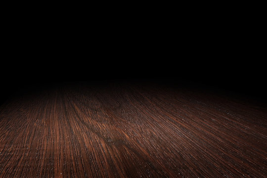 Dark brown wood floor texture perspective background for display or montage of product,Mock up template for your design.