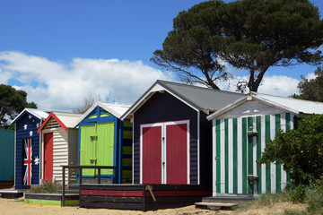 Colorful bathing boxes on the beach of Mornington Peninsula, Victoria, Australia.