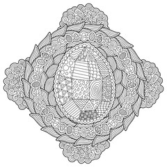 Beautiful adult coloring book page with egg