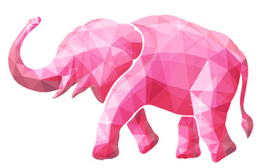 Beautiful low poly illustration with pink elephant