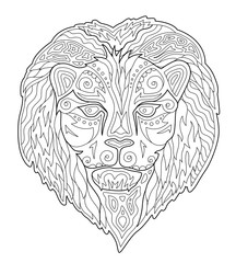Beautiful coloring book page with lion head
