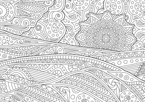 Adult coloring book page with stylized landscape