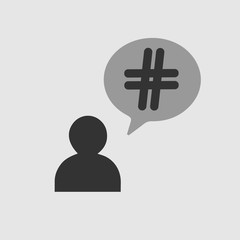 Hashtag icon in bubble. Simple isolated illustration.