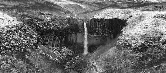 Svartifoss waterfall in winter