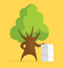Tree leaning on big paper stack