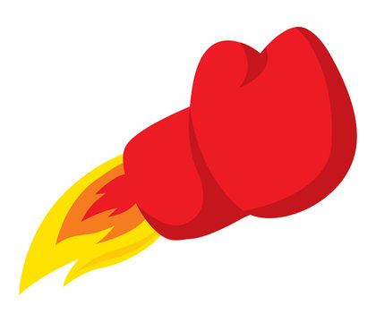 Boxing glove punch blasting off like a rocket