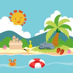 beach toys vector design