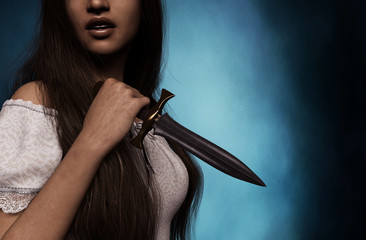 Sister of horror,woman with dagger,3d rendering