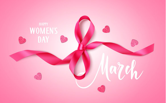 8 march. Happy Women's day design template. Decorative pink bow heart confetti on pink background. Vector illustration