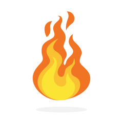 Red and orange fire flame. Hot flaming element