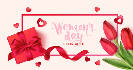 Women's daysale design template. Holiday background with decorative red gift box, spring tulip flowers and heart confetti. Vector illustration