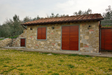 Stone buildings in the Tuscan countryside in Italy