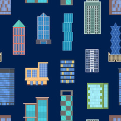 Cartoon Buildings Signs Seamless Pattern Background. Vector