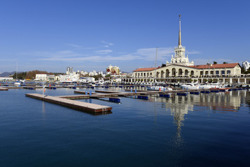 Beautiful view of the sea port of Sochi on a bright summer day.