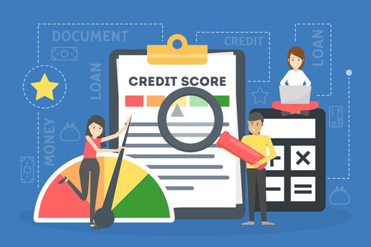 Credit score concept. Document with personal credit history