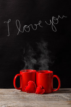 Love, coffee and romance concept