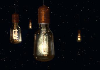 Some vintage glowing shine light lamp bulbs on dark background. 3D render.