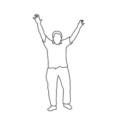 isolated man rejoices sketch