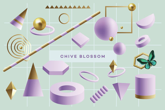 Purple 3d geometric objects floating on a green background