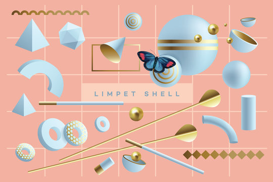 Fun composition of 3d geometric objects in blue and golden color combination isolated on living coral background