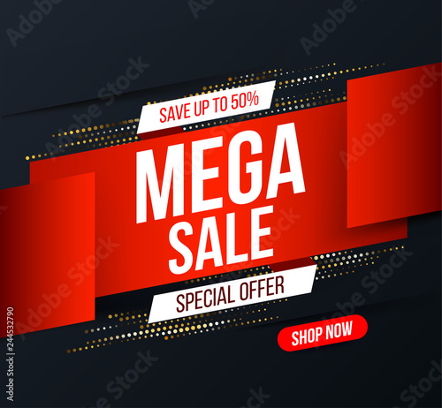daacae2fb Abstract Mega sale banner with gold halftone glitter effect for special  offers