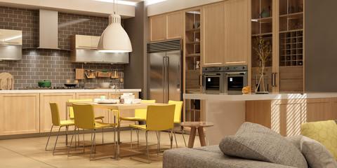 Modern house interior. 3d rendering