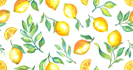 Watercolor fruit lemon and green leaves seamless pattern background