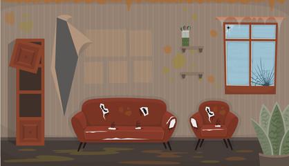 Living room with old dirty chair, sofa, broken  window, broken  bookshelf. Flat dirty interior in cartoon style.