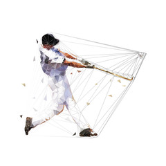 Baseball player hits ball, low polygonal batter, isolated geometric vector illustration. Team sport athlete
