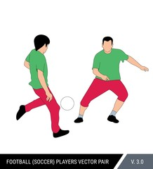 Two football players run with the ball. Two soccer players from the one team run together. One player passes ball to another. Color vector illustration.