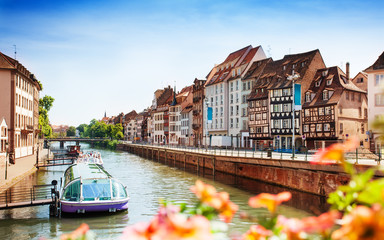 Cityscape of Strasbourg and Ill river in spring Wall mural