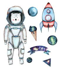 polar bear astronaut with a rocket