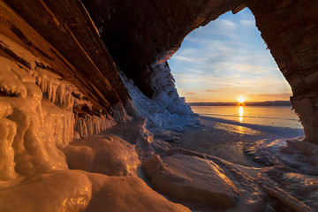 View from the grotto at sunrise in winter on lake Baikal