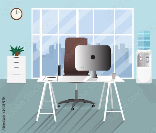 Flat Office Concept Illustration. Vector Workplace Modern Design. Office  Illustration. Modern Business Workspace