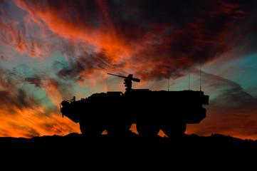 American interim armored vehicle silhouette / 3d illustration Wall mural