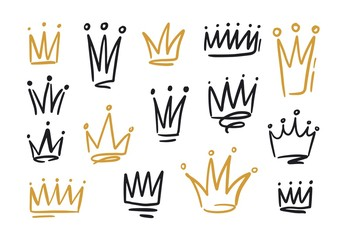 Bundle of drawings of crowns or coronets for king or queen. Symbols of monarchy, sovereign authority and power hand drawn with black and golden contour lines on white background. Vector illustration.