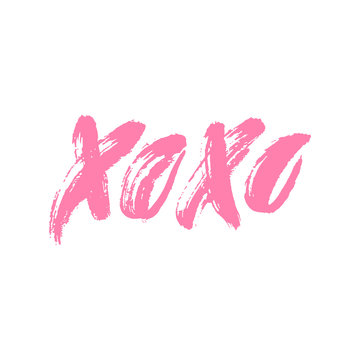 Xoxo. Hand drawn lettering. Happy Valentine's Day. Hugs and kisses. Love. Ink letters. Textured word. Valentine card, postcard, banner, poster, print on clothes. Vector illustration, eps10