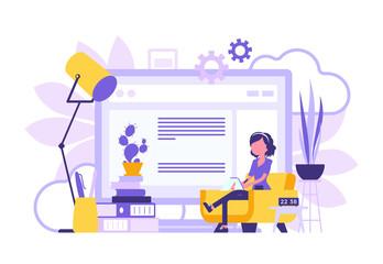 Freelancer girl home office abstract design