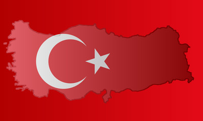 Graphic illustration of a Turkish flag with a contour of its borders