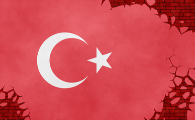 Graphic illustration of a Turkish flag imitating a paiting on the cracked wall