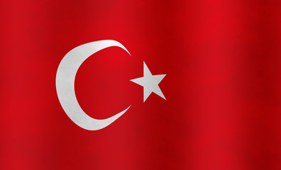 Illustration of a Turkish Flag, flying version