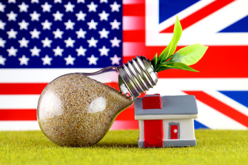 Plant growing inside the light bulb, miniature house on the grass, United States and United Kingdom Flag. Renewable energy. Electricity prices, energy saving in the household.